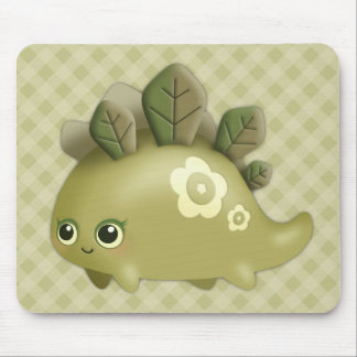 Cute Baby Leafy Dino - kawaii style creature Mouse Pad