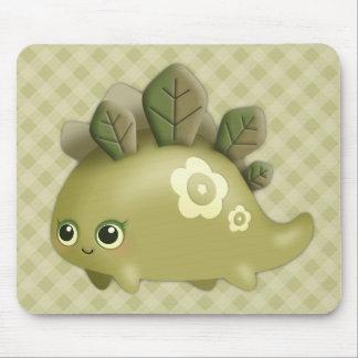 Cute Baby Leafy Dino - kawaii style creature Mouse Pad