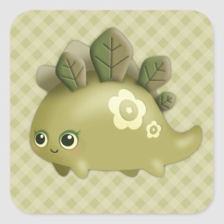 Cute Baby Leafy Dino - kawaii style creature Square Stickers