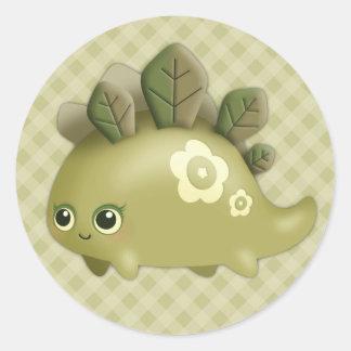 Cute Baby Leafy Dino - kawaii style creature Stickers