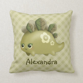 Cute Baby Leafy Dino - kawaii style, personalized Throw Pillow
