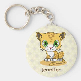 Cute baby leopard cartoon name kids keychain