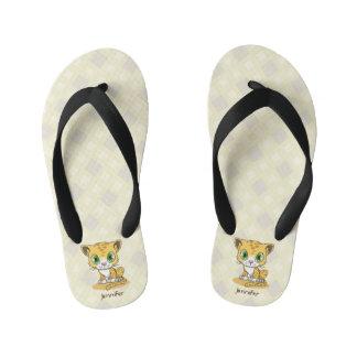 Cute baby leopard cartoon name kids slippers kid's flip flops
