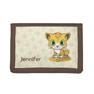 Cute baby leopard cat cartoon name kids wallet