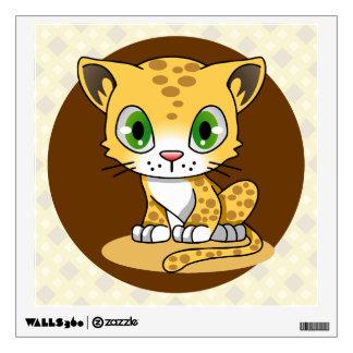 Cute baby leopard cat kawaii cartoon kids wall decal