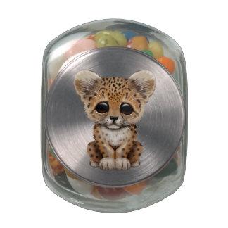 Cute Baby Leopard Cub Glass Jar