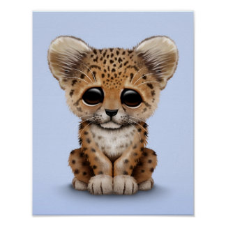 Cute Baby Leopard Cub on Light Blue Poster