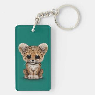 Cute Baby Leopard Cub on Teal Blue Keychain