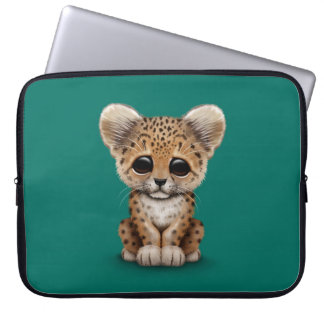 Cute Baby Leopard Cub on Teal Blue Laptop Sleeve