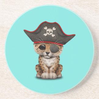 Cute Baby Leopard Cub Pirate Drink Coaster