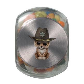 Cute Baby Leopard Cub Sheriff Glass Jars