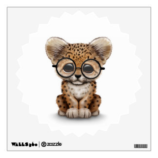 Cute Baby Leopard Cub Wearing Glasses on White Wall Decal