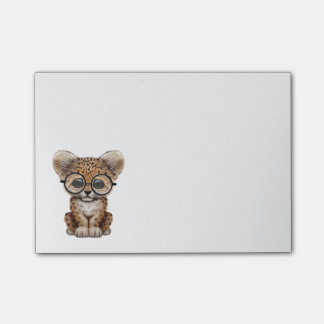 Cute Baby Leopard Cub Wearing Glasses Post-it Notes