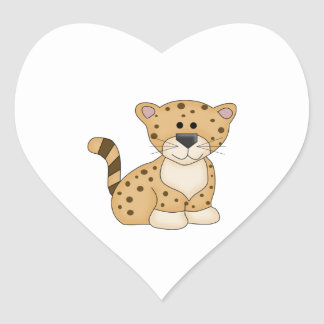 Cute Baby Leopard Heart Sticker