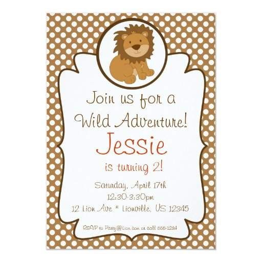 Cute Baby Lion Birthday Party Invitation