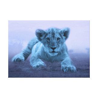 Cute baby lion cub canvas prints