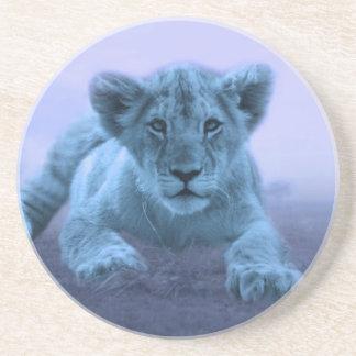 Cute baby lion cub beverage coaster