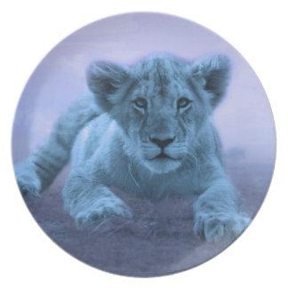 Cute baby lion cub dinner plate