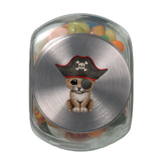 Cute Baby Lion Cub Pirate Glass Jars