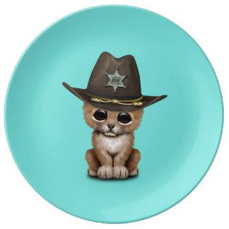 Cute Baby Lion Cub Sheriff Porcelain Plate