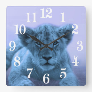 Cute baby lion cub square wall clock