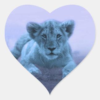 Cute baby lion cub heart sticker