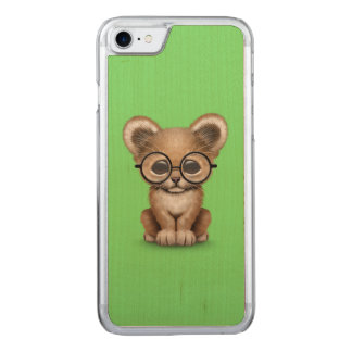Cute Baby Lion Cub Wearing Glasses on Green Carved iPhone 7 Case
