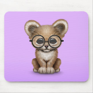 Cute Baby Lion Cub Wearing Glasses on Purple Mouse Pad