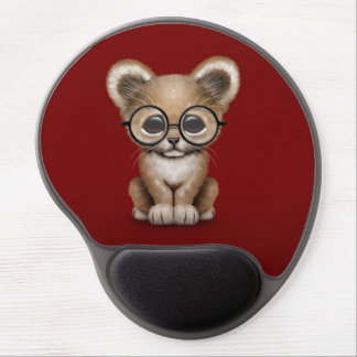 Cute Baby Lion Cub Wearing Glasses on Red Gel Mouse Pad