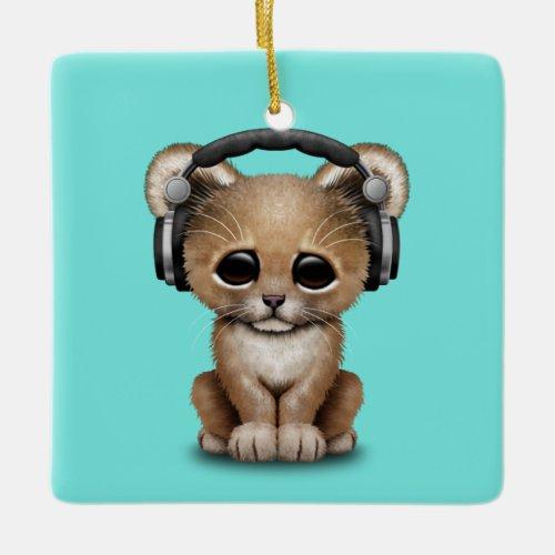 Cute Baby Lion Wearing Headphones Ceramic Ornament