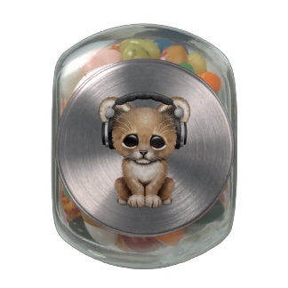 Cute Baby Lion Wearing Headphones Jelly Belly Candy Jar