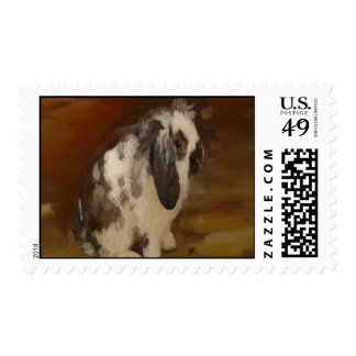 Cute, Baby Lop Eared Rabbit. Stamp