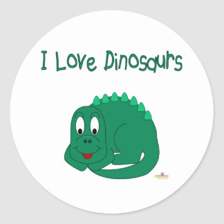 Cute Baby Lt Green Dinosaur I Love Dinosaurs Sticker