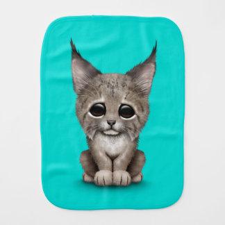 Cute Baby Lynx Cub on Blue Burp Cloth