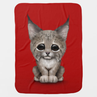 Cute Baby Lynx Cub on Red Receiving Blanket