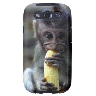 Cute baby macaque monkey eating banana samsung galaxy s3 cases