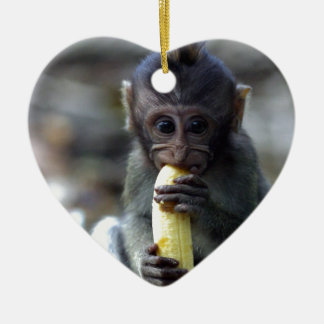Cute baby macaque monkey eating banana christmas tree ornaments