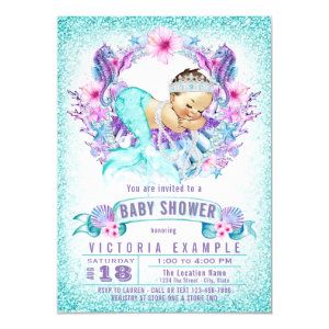 Purple and Teal Baby Shower Invitation, Cute Mermaid