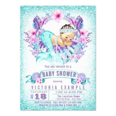 Cute Mermaid Under the Sea Baby Shower Invitations Zazzlecom