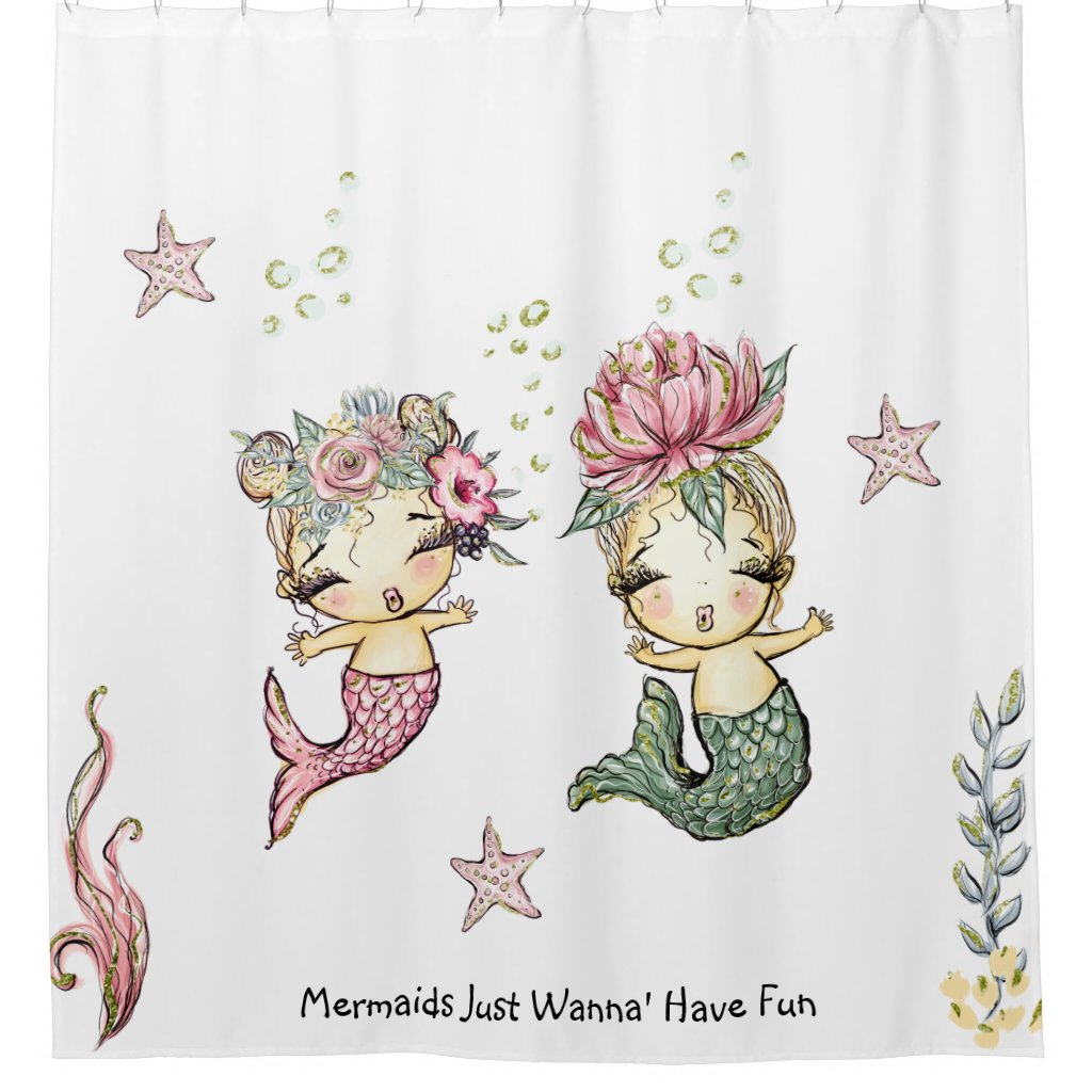 Cute Baby Mermaids Starfish Seaweed Shower Curtain