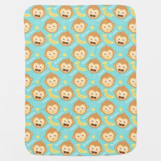 Cute Baby Monkey and Bananas Baby Blanket