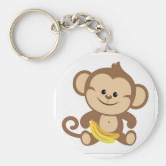 cute baby monkey basic round button keychain