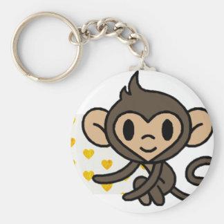Cute baby monkey! basic round button keychain