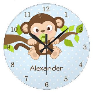 Cute Baby Monkey Blue Polka Dots Wall Clocks