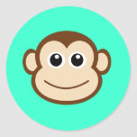 Cute Baby Monkey Face Classic Round Sticker