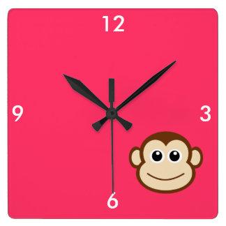 Cute Baby Monkey Face Square Wallclocks