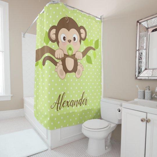 Cute Baby Monkey Green Polka Dots Shower Curtain   Zazzle.com