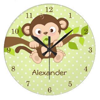 Cute Baby Monkey Green Polka Dots Wall Clocks