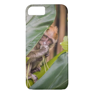 Cute Baby Monkey Hiding Behind Leaves iPhone 7 Case