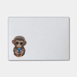 Cute Baby Monkey Holding a Blue Cell Phone Post-it Notes